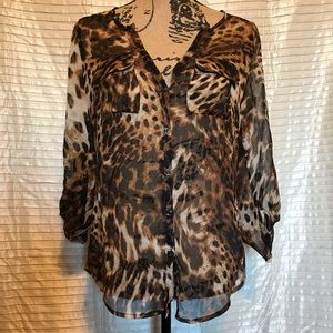 NY&C Sz S Sheer Animal Print Blouse w 3/4 sleeves